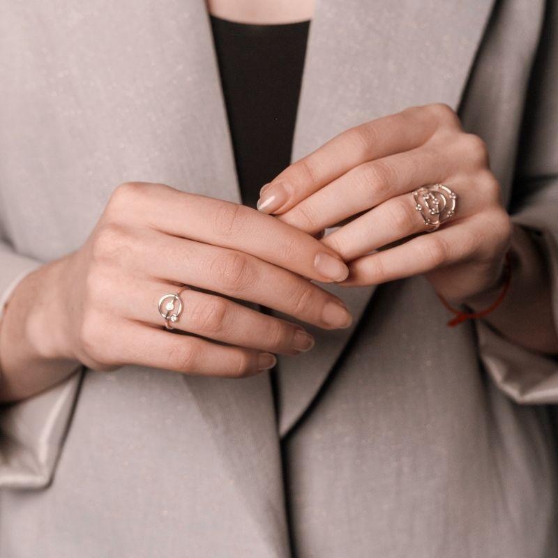 Необычные кольца из серебра фото