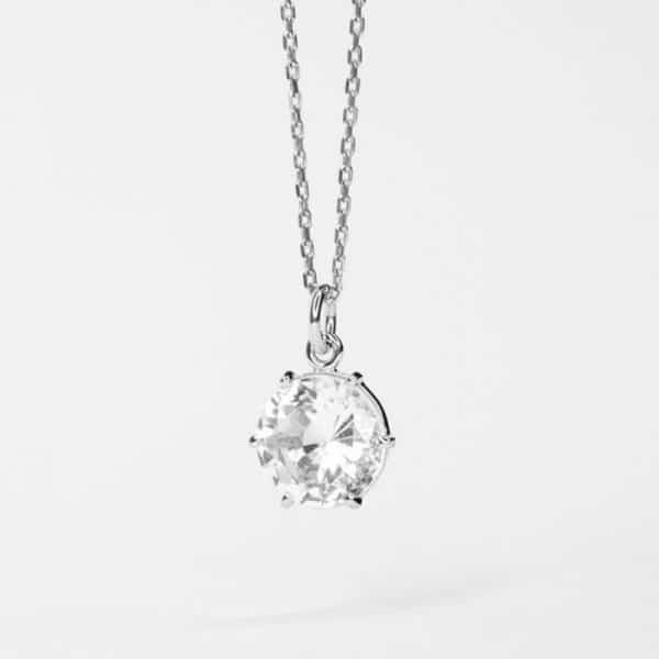 Ожерелье с фианитом из серебра 925 пробы