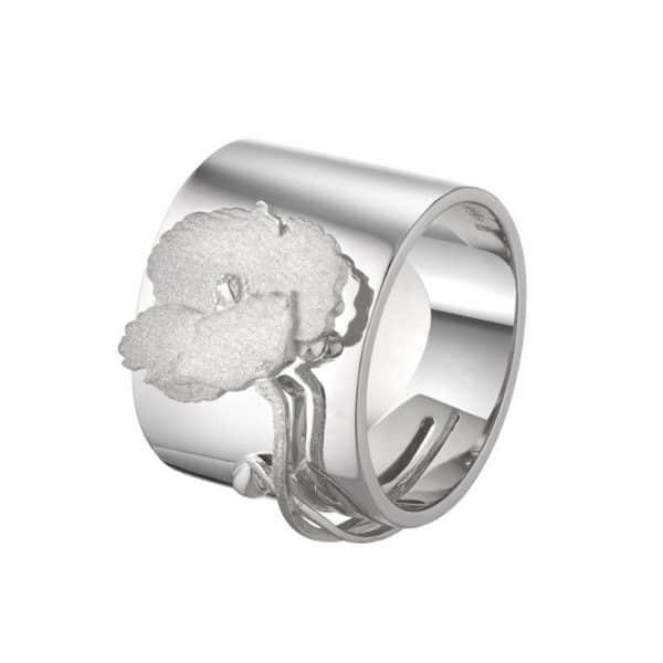 Женское серебряное кольцо «Мак» фото