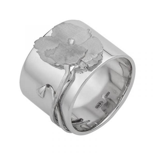 Жіночий срібний перстень «Мак» фото